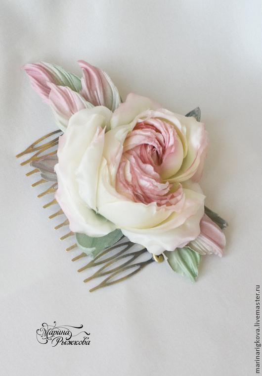 """Заколки ручной работы. Ярмарка Мастеров - ручная работа. Купить Роза на гребне """"Моника"""". Handmade. Цветок из шелка, роза на гребне"""