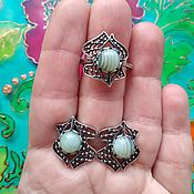 Украшения handmade. Livemaster - original item 450 set silver earrings and ring with stones. Handmade.