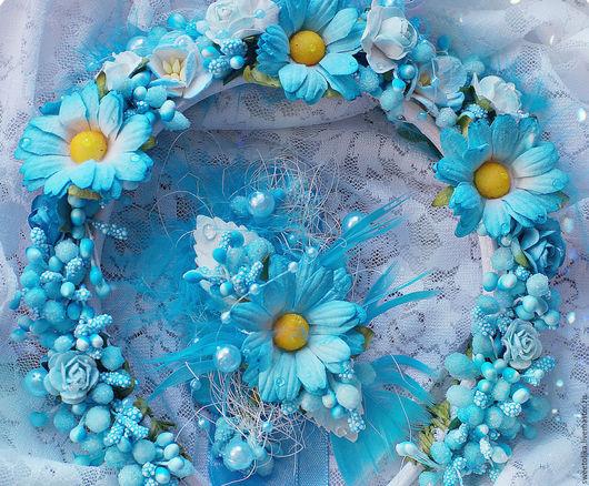 Свадебные украшения ручной работы. Ярмарка Мастеров - ручная работа. Купить Свадебный набор: Венок и браслет. Венок с цветами, Венок с ромашками. Handmade.