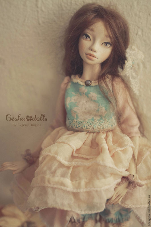 Коллекционные куклы ручной работы. Ярмарка Мастеров - ручная работа. Купить Камелия. Handmade. Мятный, бежевый, Замша натуральная
