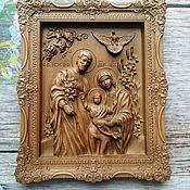 Иконы ручной работы. Ярмарка Мастеров - ручная работа Икона резная из дерева Святое семейство. Handmade.