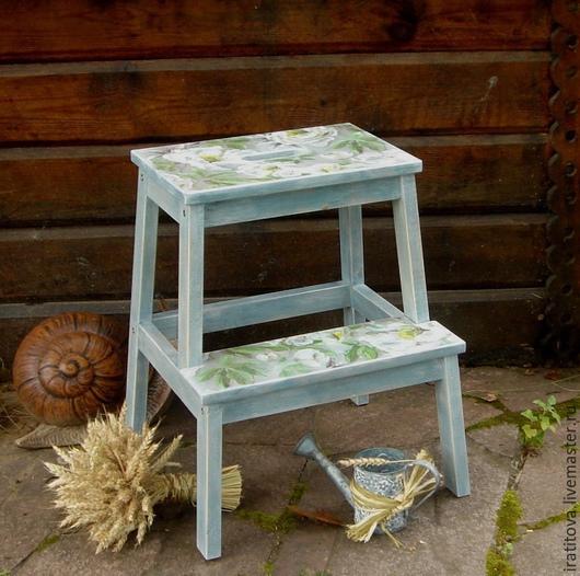"""Мебель ручной работы. Ярмарка Мастеров - ручная работа. Купить Табурет-стремянка """" Вальс белых пионов"""". Handmade. Разноцветный"""
