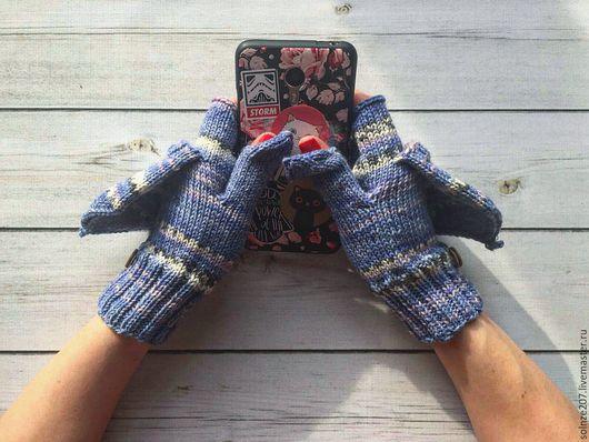 """Варежки, митенки, перчатки ручной работы. Ярмарка Мастеров - ручная работа. Купить Варежки-митенки """"Голубой мороз"""". Handmade. Синий"""