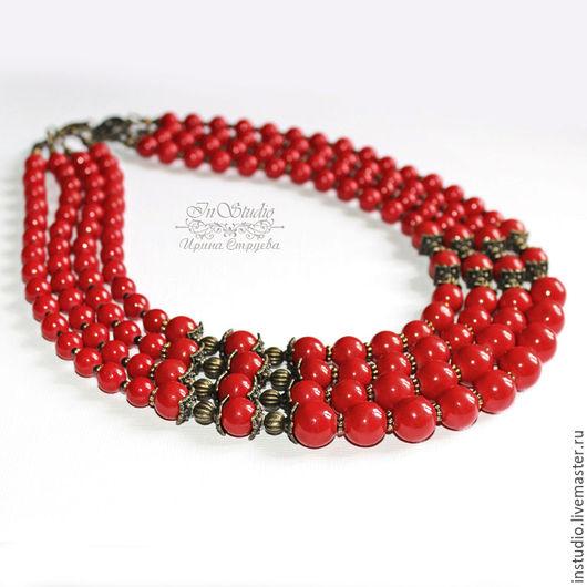 Колье, бусы ручной работы. Ярмарка Мастеров - ручная работа. Купить Ожерелье-намисто из коралла Калина красная. Handmade.