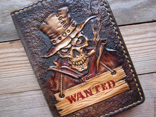 """Обложки ручной работы. Ярмарка Мастеров - ручная работа. Купить Обложка на паспорт """"Клайд"""". Handmade. Коричневый, паспортная обложка"""