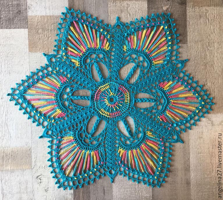 Decorative napkin 'Bright star', crocheted, Doilies, Tomsk,  Фото №1