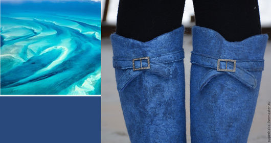 """Обувь ручной работы. Ярмарка Мастеров - ручная работа. Купить сапожки валяные """"В бирюзовых тонах"""". Handmade. Синий, шерсть"""