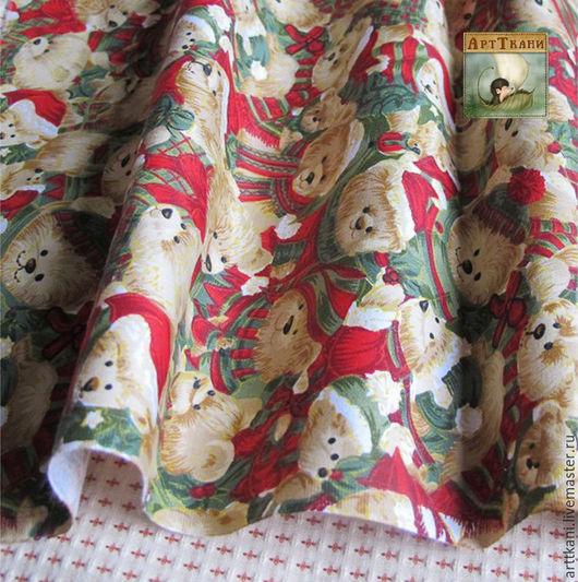 """Шитье ручной работы. Ярмарка Мастеров - ручная работа. Купить 100% хлопок сатин, Китай """"Рождественские мишки"""". Handmade. Ткань"""