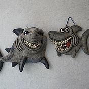 Картины и панно ручной работы. Ярмарка Мастеров - ручная работа войлочное панно Акулка. Handmade.