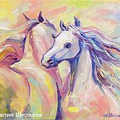 """Картины и панно ручной работы. Ярмарка Мастеров - ручная работа Картина лошади """"Поцелуй"""" картина маслом с лошадьми. Handmade."""
