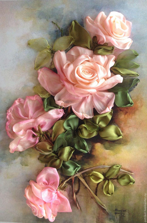Принт для вышивки лентами розы 275