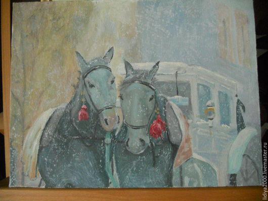 Животные ручной работы. Ярмарка Мастеров - ручная работа. Купить Двойка лошадей под снегом. Handmade. Серый, зима, лошади