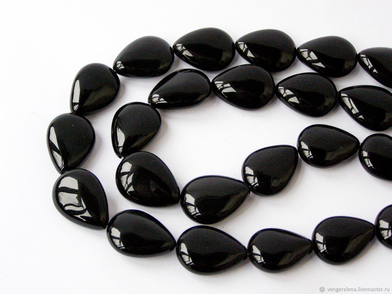 Для украшений ручной работы. Ярмарка Мастеров - ручная работа. Купить Бусина Кабошон агат капля плоская 20х15  мм натуральный черный. Handmade.