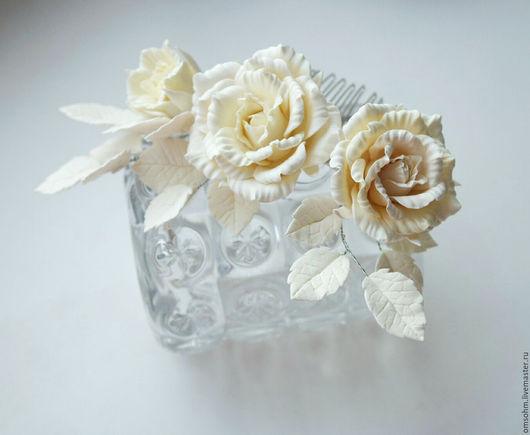 """Заколки ручной работы. Ярмарка Мастеров - ручная работа. Купить Гребень """"Айвори розочки"""". Handmade. Кремовый, розы, прическа невесты"""
