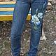 """Юбки ручной работы. """"Ирисы"""" Роспись Юбка джинсовая. Марина Данилина. Интернет-магазин Ярмарка Мастеров. Синий, ирис"""