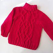 Работы для детей, ручной работы. Ярмарка Мастеров - ручная работа Вязаный красный свитер для мальчика/девочки из акрила, с аранами.. Handmade.
