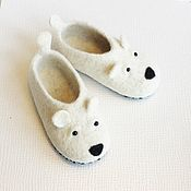Работы для детей, handmade. Livemaster - original item felted slipper  socks for children polar bear. Handmade.