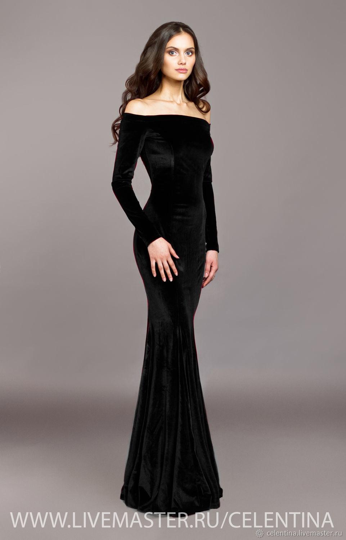 платье бархатное черное фото