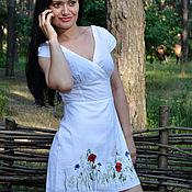 """Одежда ручной работы. Ярмарка Мастеров - ручная работа летнее платье с вышивкой""""полевые цветы"""". Handmade."""
