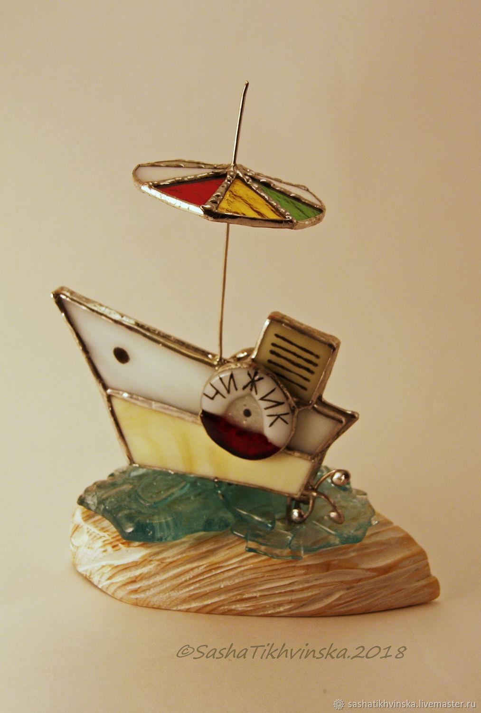 Статуэтки ручной работы. Ярмарка Мастеров - ручная работа. Купить Катерок. Handmade. Подарок мужчине, 14февраля, кораблик из стекла, воск