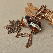 Украшения handmade. Livemaster - original item Earrings Amber Maple asymmetric lampwork bronze. Handmade.