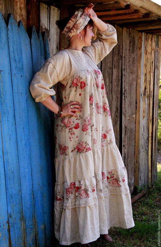 """Платья ручной работы. Ярмарка Мастеров - ручная работа. Купить Платье в народном стиле """"Самоварное настроение"""". Handmade. Бежевый, розы"""