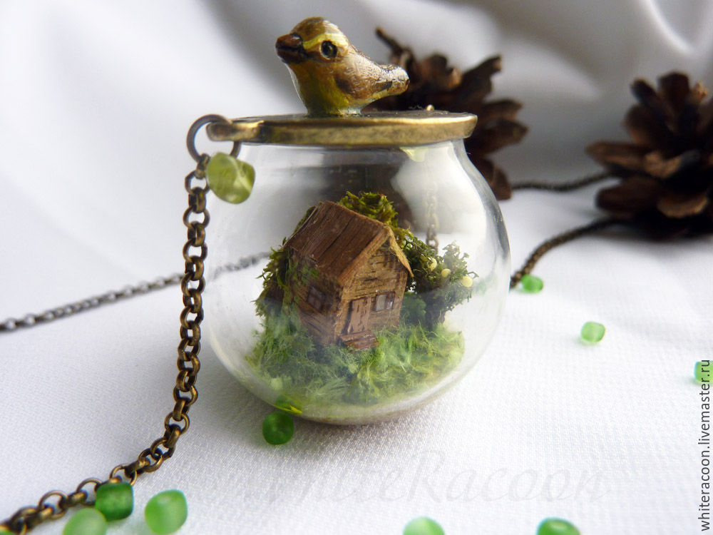 "Pendant sphere with miniature ""the Forest house"", Pendants, Moscow,  Фото №1"