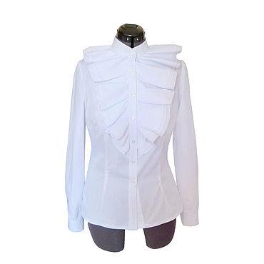 Одежда ручной работы. Ярмарка Мастеров - ручная работа Блуза хлопковая с жабо. Handmade.