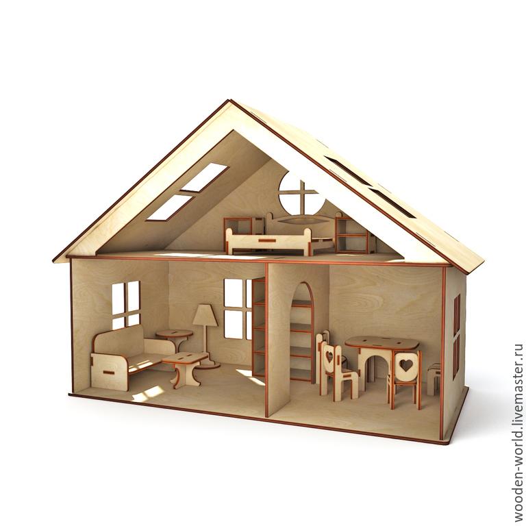 Кукольный дом ручной работы. Ярмарка Мастеров - ручная работа. Купить Кукольный домик с мебелью. Handmade. Мебель, игрушка, кровать