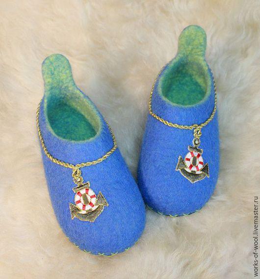 """Обувь ручной работы. Ярмарка Мастеров - ручная работа. Купить Детские валяные тапочки """"Морские"""". Handmade. Тапочки"""