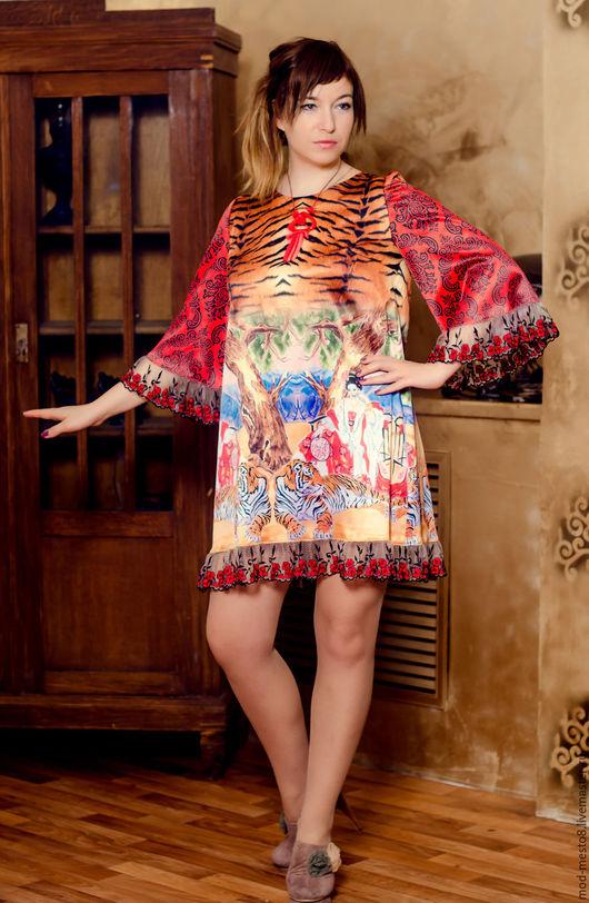 """Платья ручной работы. Ярмарка Мастеров - ручная работа. Купить Платье """"Гейши"""" из атласа. Handmade. Платье летнее, шелковое платье"""