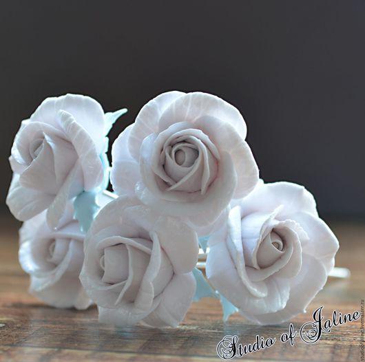 Заколки ручной работы. Ярмарка Мастеров - ручная работа. Купить Шпильки с розами. Handmade. Белый, шпилька ручной работы