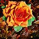 """Заказать Брошь""""Солнечная роза"""", любителям рыжего, брошка. Мир фигурок (figuressfoto). Ярмарка Мастеров. . БрошиФото №3"""