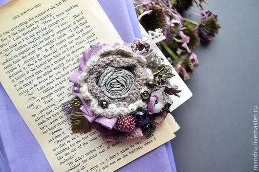 брошь осенняя, ягодная брошь, фиолетовый, ежевичный, брошь букет, брошь из ткани, осень, брошь текстильная