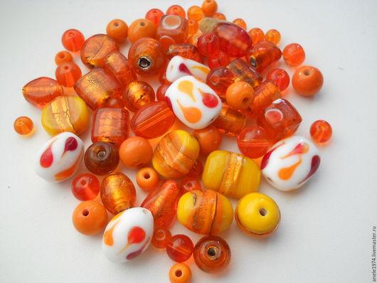 """Для украшений ручной работы. Ярмарка Мастеров - ручная работа. Купить Набор индийских бусин стекло """"Апельсин"""" для украшений 100 гр. Handmade."""