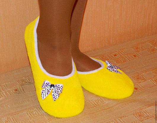 """Обувь ручной работы. Ярмарка Мастеров - ручная работа. Купить Балетки домашние """" Солнышко"""". Handmade. Желтый, тапочки"""