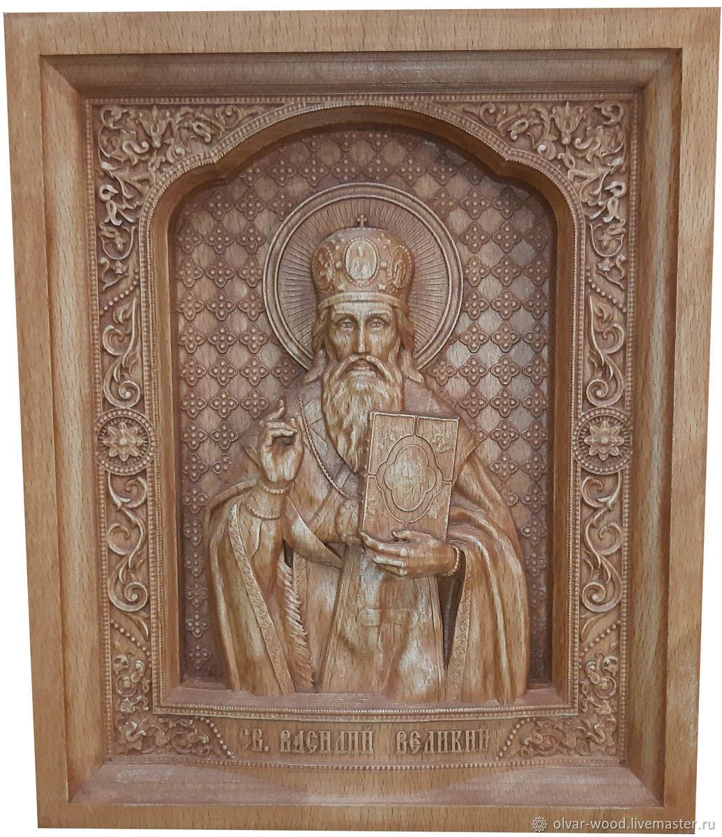 Резная икона из дерева Святой Василий Великий, Иконы, Москва,  Фото №1