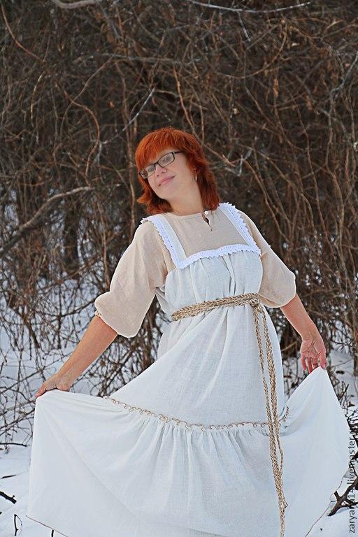 Одежда ручной работы. Ярмарка Мастеров - ручная работа. Купить Платье- сарафан бело-бежевое с кружевом. Handmade. Белый