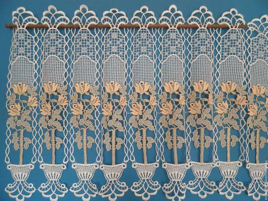 """Текстиль, ковры ручной работы. Ярмарка Мастеров - ручная работа. Купить Кружевной ламбрекен """"Комнатные цветы"""". Handmade. Макраме, дома"""