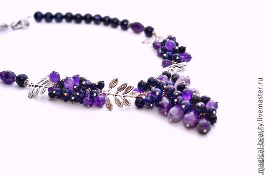 Necklace from aventurine and amethyst ' Purple sunset', Necklace, Moscow,  Фото №1