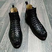 Обувь ручной работы handmade. Livemaster - original item Cossacks from the relief part of genuine crocodile leather, black color.. Handmade.