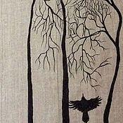 """Одежда ручной работы. Ярмарка Мастеров - ручная работа Летнее льняное пальто с росписью, """"Грачи прилетели"""".. Handmade."""