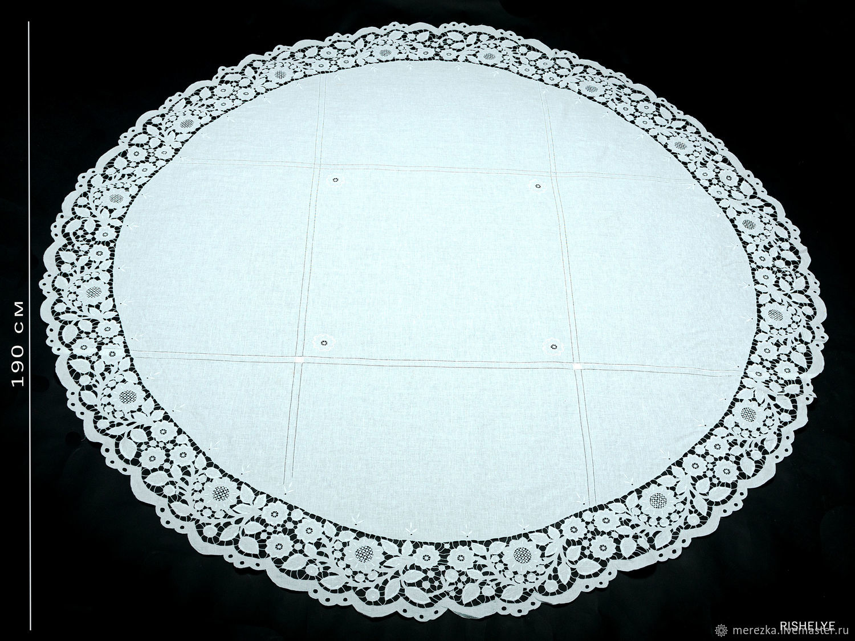 Скатерть на круглый стол Ришелье 190 х 190 лен ручная работа, Скатерти, Пучеж,  Фото №1
