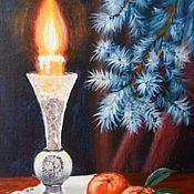 """Картины и панно ручной работы. Ярмарка Мастеров - ручная работа Картина натюрморт на холсте """"Свеча горела""""  новогодняя миниатюра. Handmade."""