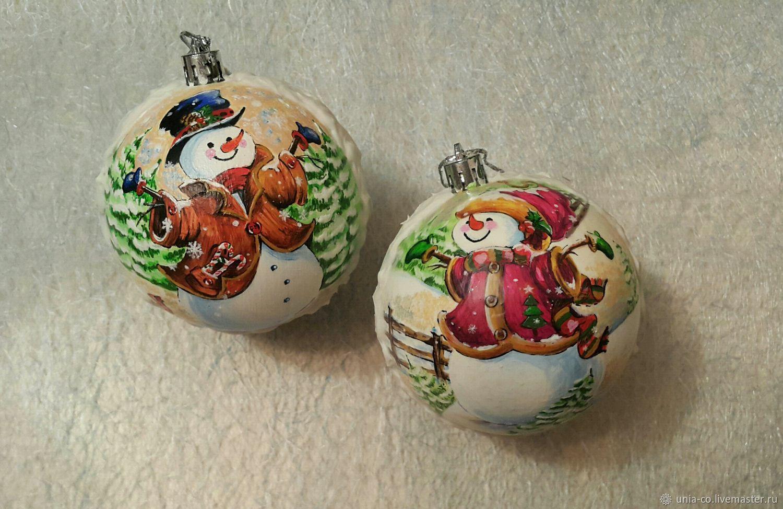 """Новогодние шарики """"Снеговики"""", Снеговики, Гомель,  Фото №1"""