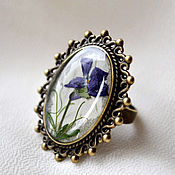 Украшения handmade. Livemaster - original item Purple large oval ring and earrings with real violets.Retro. Handmade.