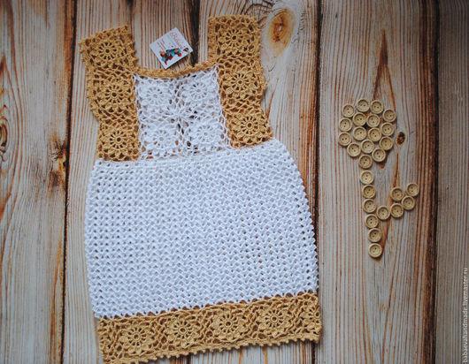 """Одежда для девочек, ручной работы. Ярмарка Мастеров - ручная работа. Купить Сарафан """"Крем-брюле"""". Handmade. Бежевый, платье"""