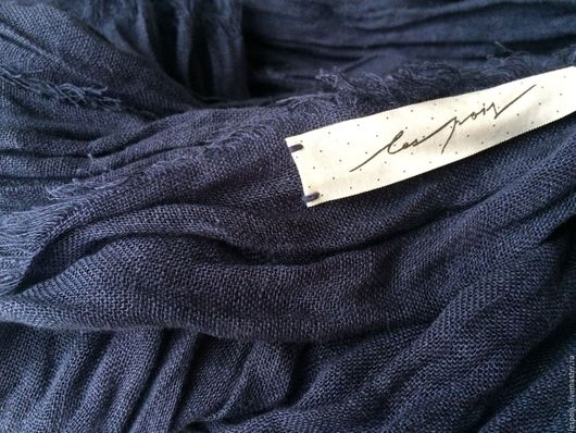 Шали, палантины ручной работы. Ярмарка Мастеров - ручная работа. Купить Льняной большой шарф. Handmade. Синий, натуральный лен