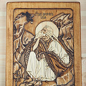 """Картины и панно ручной работы. Ярмарка Мастеров - ручная работа """"Святой Илия пророк"""" - православная резная икона из дерева. Handmade."""