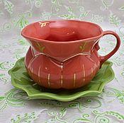"""Посуда ручной работы. Ярмарка Мастеров - ручная работа Кофейная пара """"Тыква"""". Handmade."""